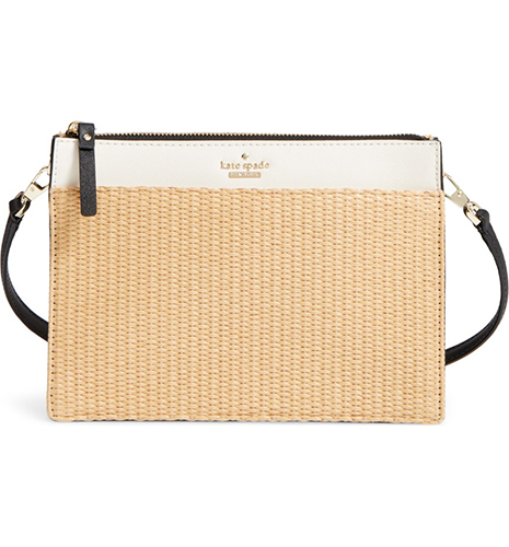 Cameron Street Clarise Raffia & Leather Shoulder Bag