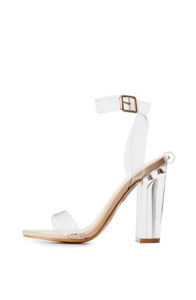 charlotte russe bamboo clear strap lucite heel sandals