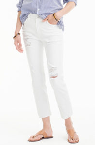 j. crew petite vintage crop jean in destroyed white
