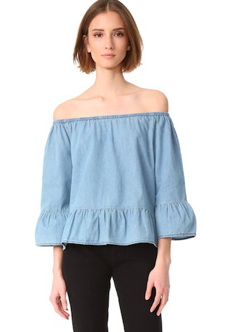 blue off the shoulder top