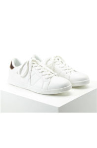 forever 21 metallic trim lace up sneakers