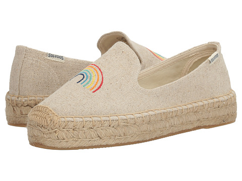 Soludos Rainbow Embroidered Platform Smoking Slipper