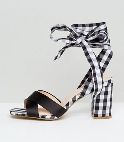 Coco Wren Tie Ankle Gingham Block Sandal