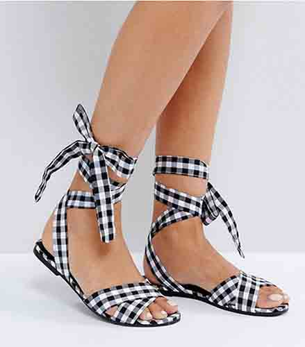 New Look Gingham Lace Up Flat Sandal