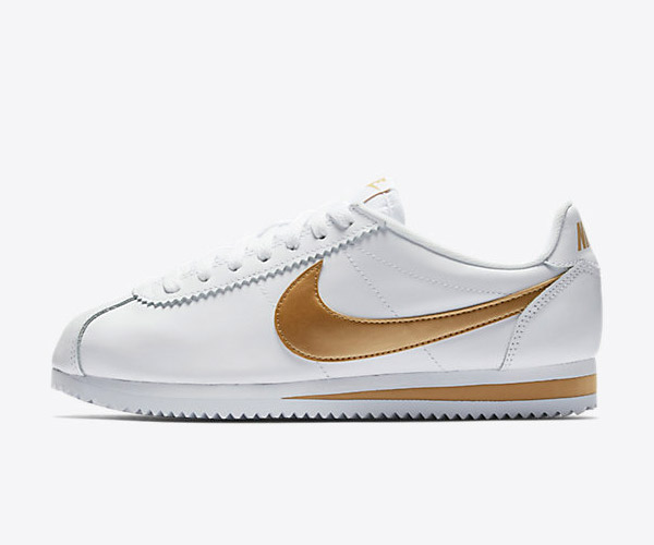 fashion sneaker nike white and gold