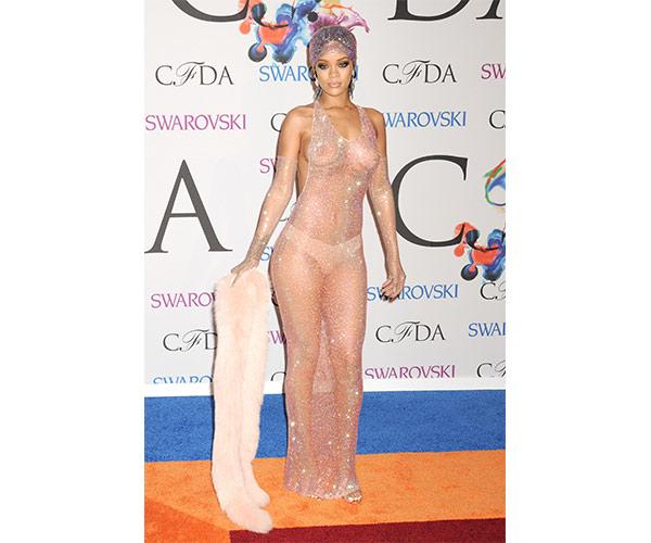 rihanna swarovski crystal see thru dress