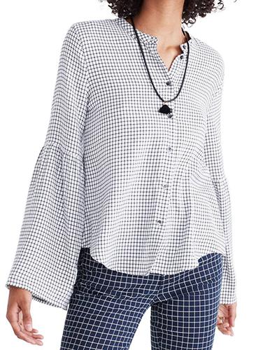 Bell Sleeve Plaid Shirt