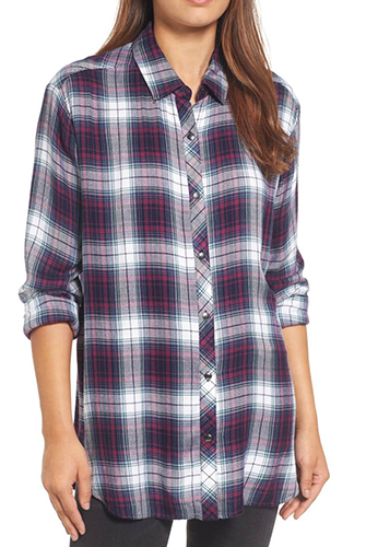 Button Side Detail Tunic Shirt