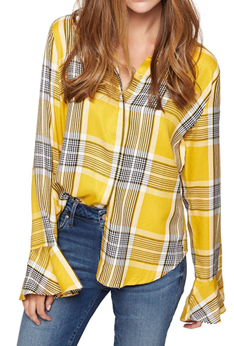 Nightscape Plaid Ruffle Cuff Shirt