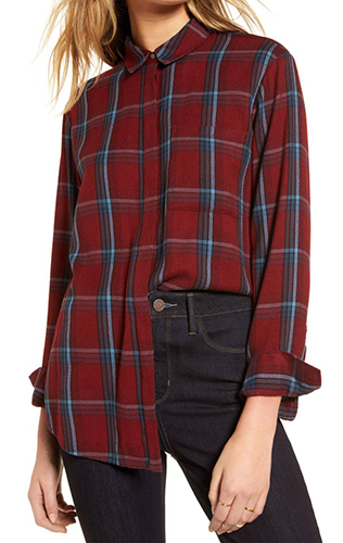 Ruffle Plaid Boyfriend Shirt