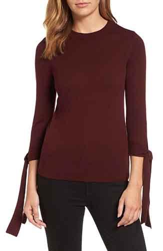 Tie Sleeve Crewneck Sweater