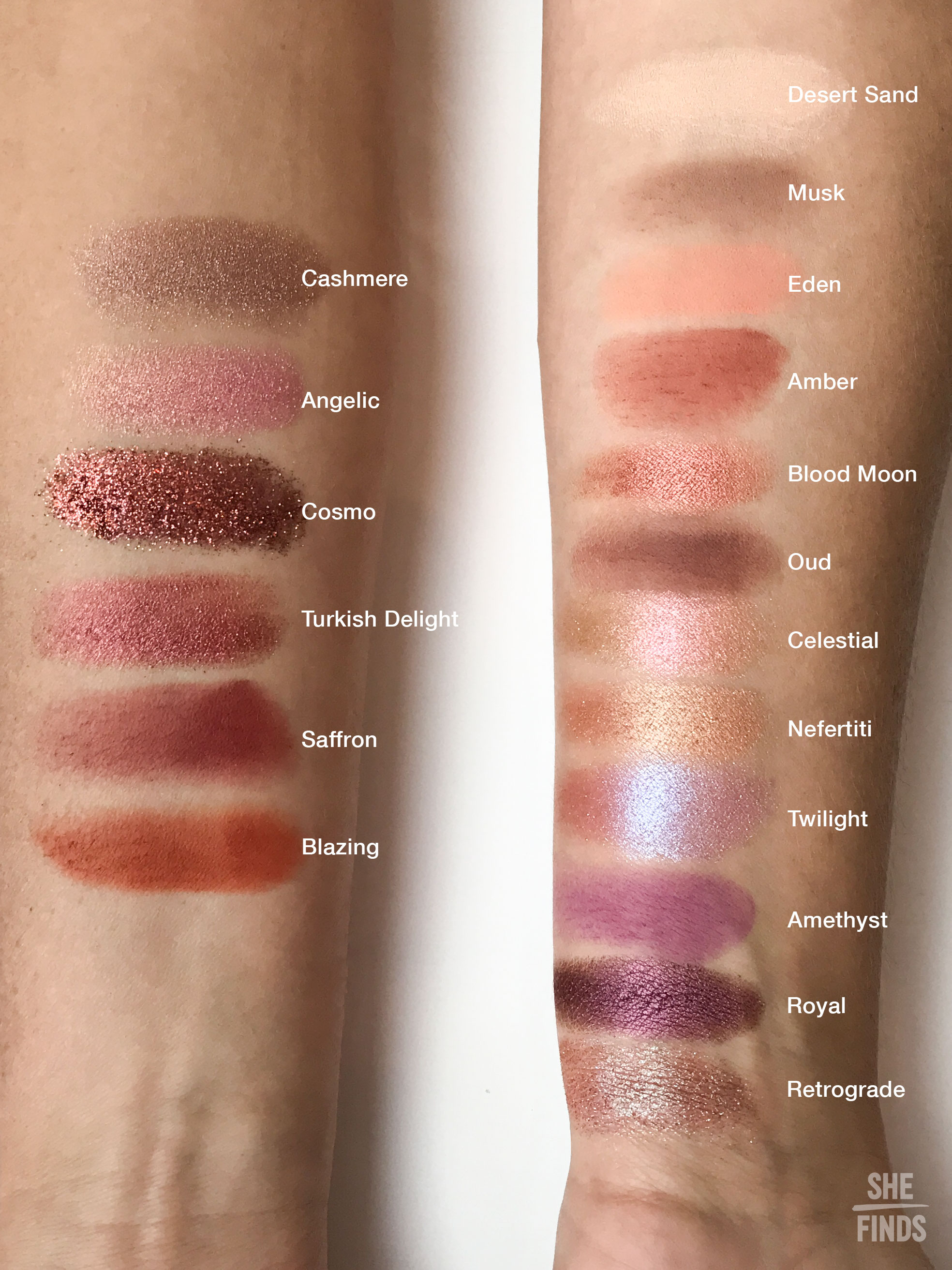 huda beauty desert dusk eyeshadow palette swatches
