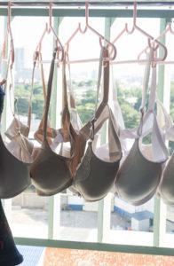 bras hanging dry