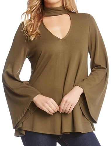 Cutout V-Neck Bell Sleeve Top