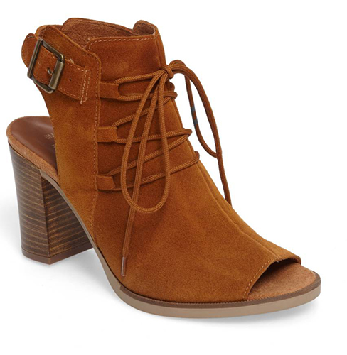 Pru Lace-Up Peep Toe Bootie
