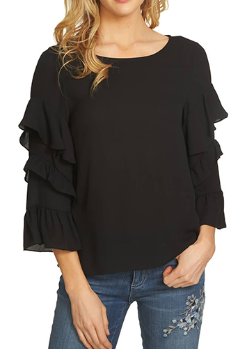 Tiered Ruffle Sleeve Blouse