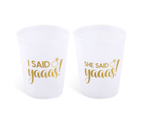 3. Party Material She Said Yaaas Bachelorette Party + Bridal Shower Cups