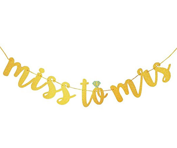 7. Amour Time Miss to Mrs Banner Bachelorette Party and Bridal Shower