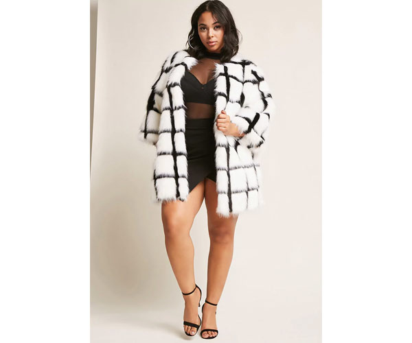 forever 21 plus size black and white coat