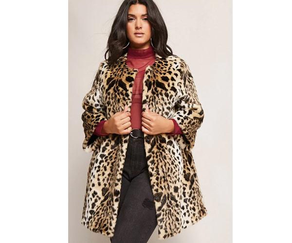 forever 21 plus size leopard coat