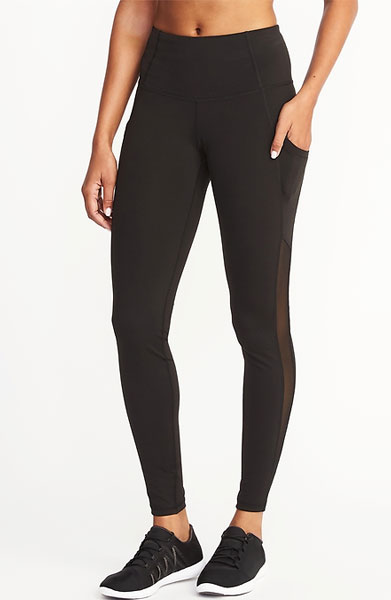 old navy mid-rise mesh-pocket compression leggings