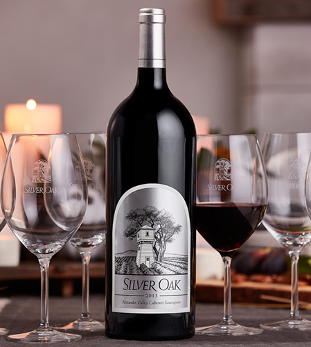 Alexander Valley Thanksgiving Magnum with Silver Oak Wine Glasses