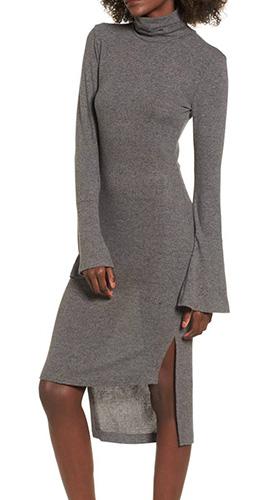 Bell Sleeve Turtleneck Midi Dress