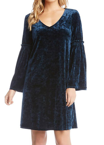 Bell Sleeve Velvet Shift Dress