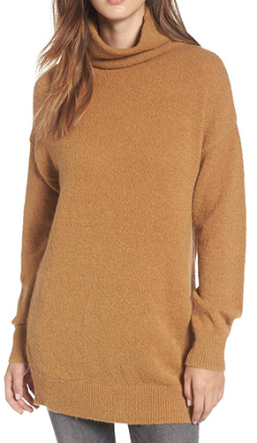 Bouclé Turtleneck Tunic Sweater