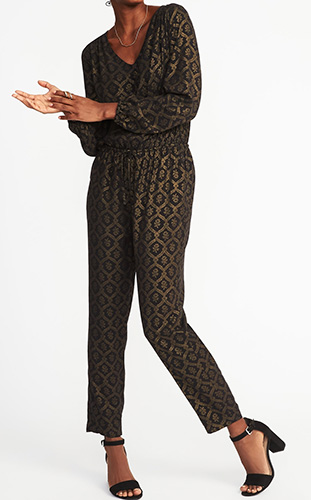 Cinched-Waist Metallic-Printed Jumpsuit for Women