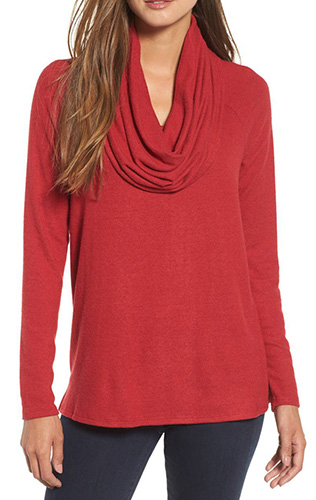 Convertible Neckline Cozy Fleece Tunic