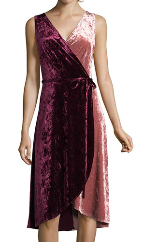 Crushed Velvet Wrap Dress