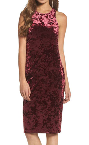 Cutout Back Velvet Sheath Dress