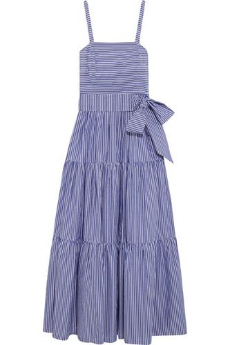J.Crew Garratt Tiered Striped Cotton Poplin Midi Dress