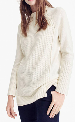 J.Crew New England Mock Neck Wool Tunic Sweater