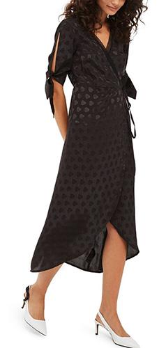 Jacquard Wrap Midi Dress