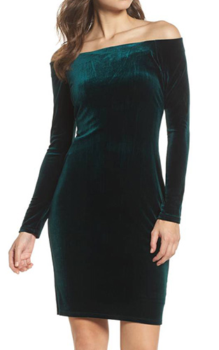 Off the Shoulder Velvet Sheath Dress