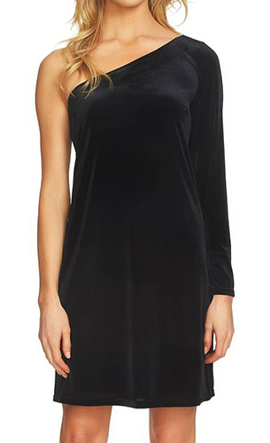 One-Shoulder Velvet Shift Dress