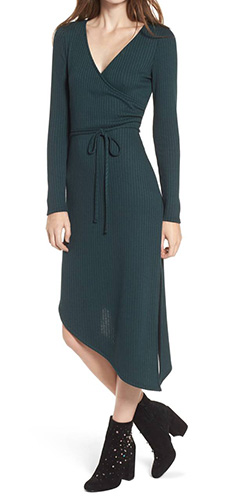 Ribbed Knit Asymmetrical Wrap Midi Dress
