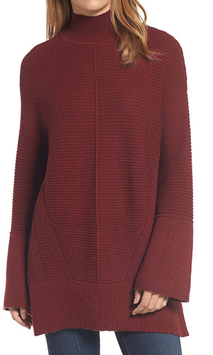 Ribbed Turtleneck Tunic Sweater