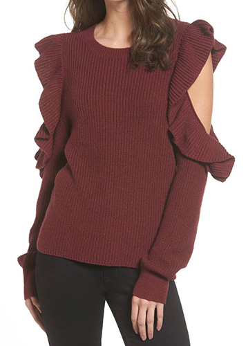 Ruffle Cold Shoulder Sweater