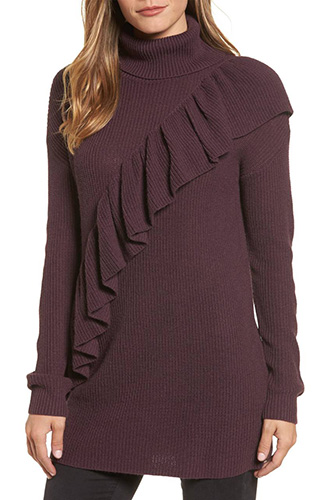 Ruffle Front Turtleneck Tunic