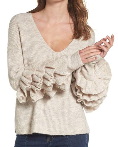 Ruffle Sleeve V-Neck Sweater