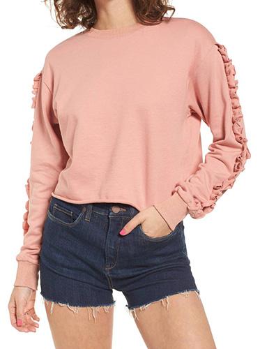 Ruffle Trim Sweatshirt