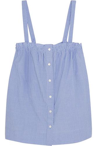 J.CREW Sandstone pinstriped cotton-poplin camisole