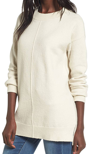 Seam Front Tunic Sweater