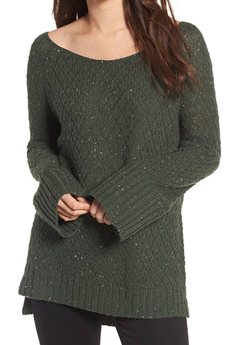 Lace-Up Side Tunic Sweater