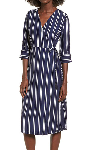 Stripe Wrap Midi Dress