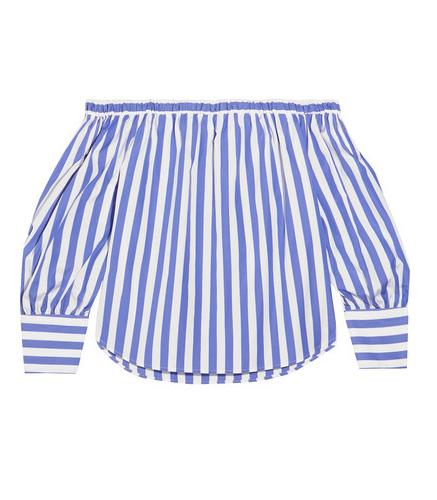 Thomas Mason Mickey off-the-shoulder striped cotton-poplin blouse