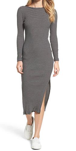 Tim Tim Ribbed Stripe Midi Dress